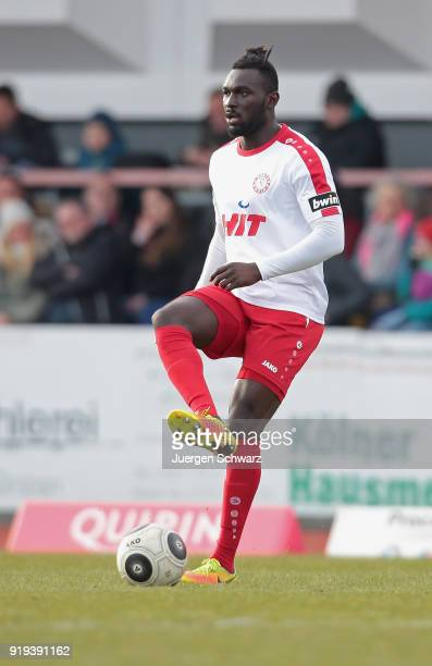 Bernard Kyere of Cologne passes the ball during the 3 Liga match between SC Fortuna Koeln and SV Wehen Wiesbaden at Suedstadion on February 17 2018...