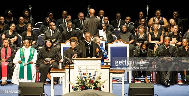 Bernard L. Richardson, Dean of the Chapel, moves along with the choir Sunday September 2, 2012 in Washington, DC at Cramton Auditorium for the Andrew...