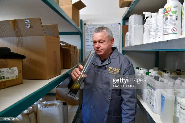 Bernard Lachaise French agricultural engineer and head of Getade Environnement company works at his office in BussacForet southwestern France on...