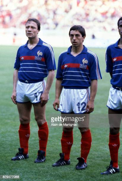 Bernard Lacombe and Alain Giresse of France during the European Championship match between France and Denmark at Parc des Princes Paris France on...