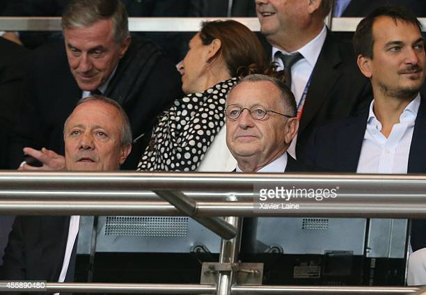 Bernard Lacombe and JeanMichel Aullas attend the French Ligue 1 between Paris SaintGermain FC and Olympique Lyonnais FC at Parc Des Princes on...