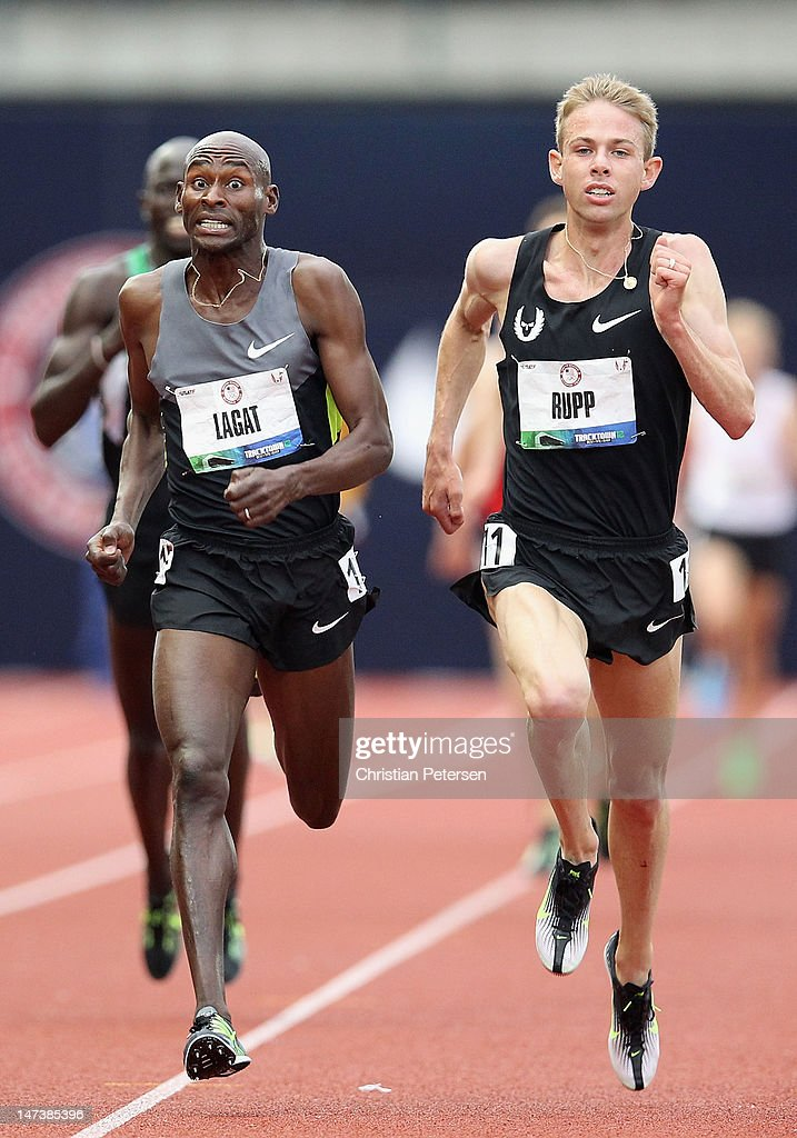 Bernard Lagat and Galen Rupp compete in the Men's 5000 Meter Run on day seven of the U.S. Olympic Track & Field Team Trials at the Hayward Field on June 28, 2012 in Eugene, Oregon.