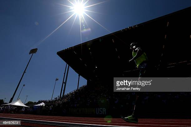 Bernard Lagat competes in the 5000m during day 2 of the IAAF Diamond League Nike Prefontaine Classic on May 31 2014 at the Hayward Field in Eugene...