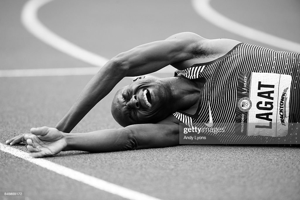 Bernard Lagat, first place, celebrates after the Men's 5000 Meter Final during the 2016 U.S. Olympic Track & Field Team Trials at Hayward Field on July 9, 2016 in Eugene, Oregon.
