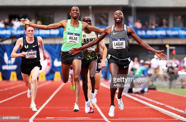 Bernard Lagat first place Hassan Mead second place and Paul Chelimo third place cross the finishline in the Men's 5000 Meter Final during the 2016 US...