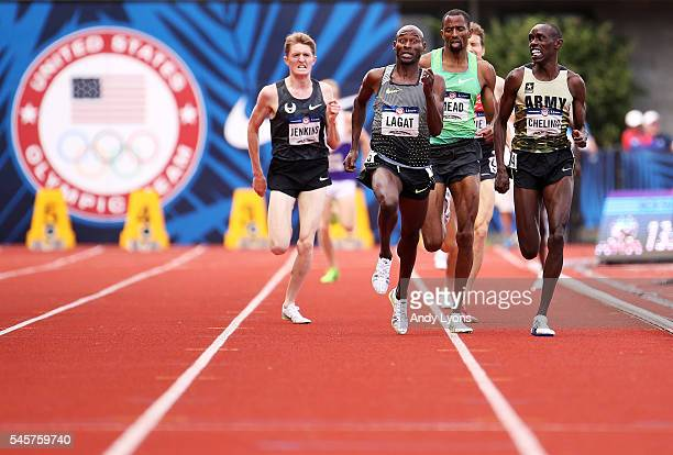 Bernard Lagat first place Hassan Mead second place and Paul Chelimo third place race to the finishline in the Men's 5000 Meter Final during the 2016...