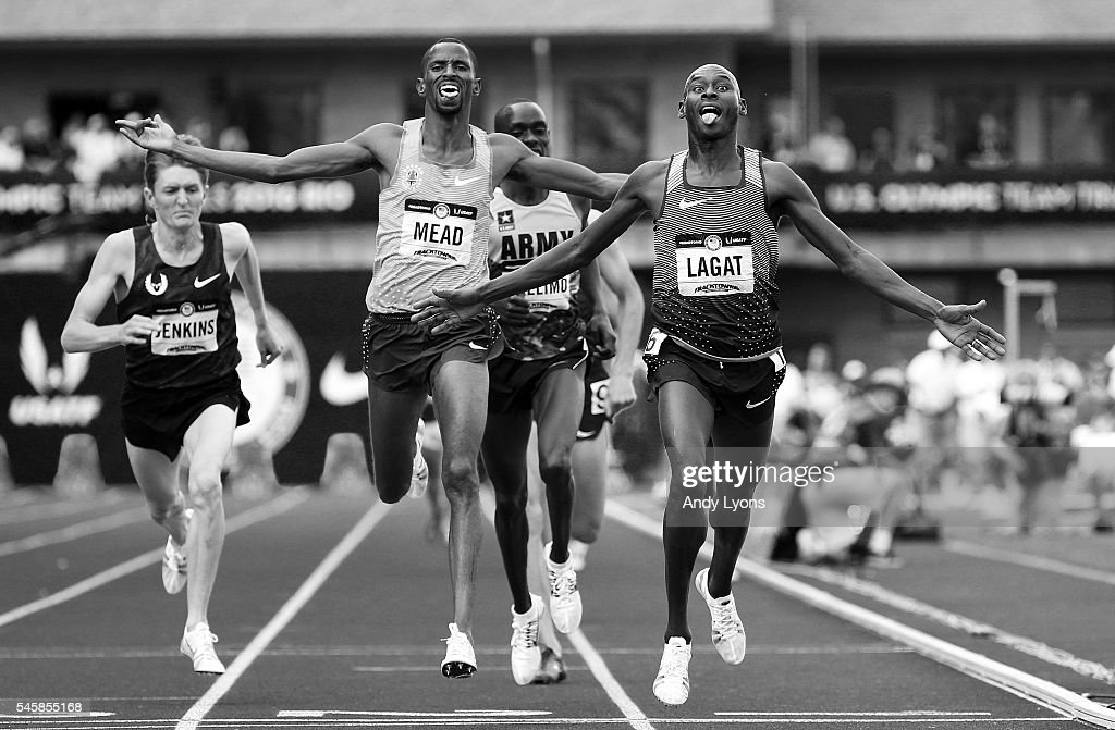 Bernard Lagat, first place, Hassan Mead, second place, and Paul Chelimo, third place, cross the finishline in the Men's 5000 Meter Final during the 2016 U.S. Olympic Track & Field Team Trials at Hayward Field on July 9, 2016 in Eugene, Oregon.