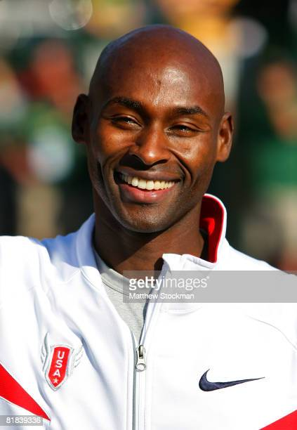 Bernard Lagat is pictured after winning the gold medal in the men's 1500 meter final during day eight of the US Track and Field Olympic Trials at...
