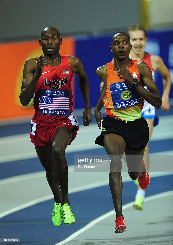 Bernard Lagat of USA (L) and Augustine Choge of Commenwealth Select in action during the Mens 3000 metres during the British Athletics International Match at the Emirates Arena on January 26, 2013 in Glasgow, Scotland.