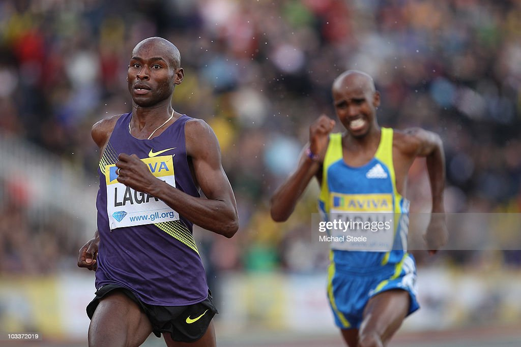 Bernard Lagat (l) of USA wins the men's 3000m from Mo Farah (r) of Great Britain during the Aviva London Grand Prix meeting at Crystal Palace on August 13, 2010 in London, England.