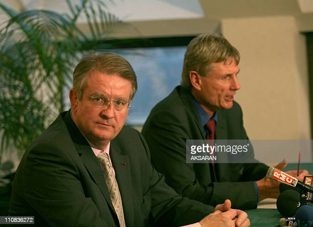 Bernard Lapasset Announces The New France'S Rugby Coach In Tarbes France On October 24 2007 Bernard Lapasset president of France Federal Rugby and...