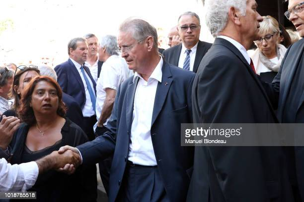 Bernard Lapasset is seen at the burial of Pierre Camou in Saint Jean Pied de Port during the Funeral of former rugby player Pierre Camou on August 18...