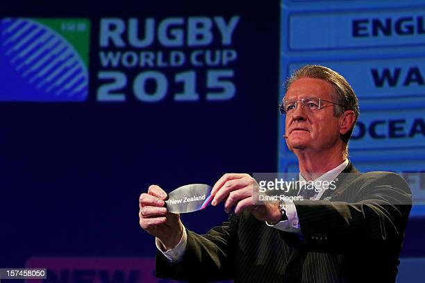 Bernard Lapasset the Chairman of Rugby World Cup Ltd draws New Zealand during the IRB Rugby World Cup 2015 pool allocation draw at the Tate Modern on...