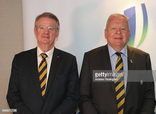 Bernard Lapasset the outgoing Chairman of World Rugby is pictured with Bill Beaumont the new Chairman of World Rugby during a media conference to...