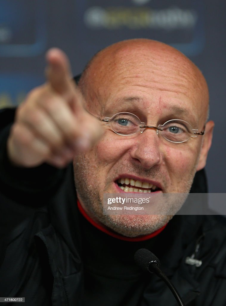 Bernard Laporte, coach of Toulon, is pictured during the European Rugby Champions Cup Press Conference at Twickenham Stadium on May 1, 2015 in London, England.