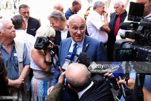 Bernard Laporte is seen at the burial of Pierre Camou in Saint Jean Pied de Port during the Funeral of former rugby player Pierre Camou on August 18...