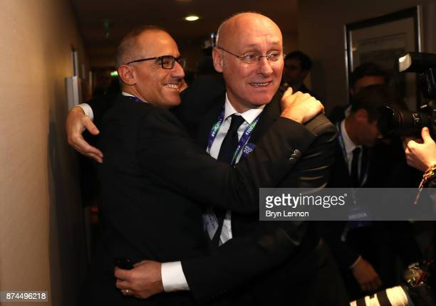 Bernard Laporte of the French bid team celebrates during the Rugby World Cup 2023 Host Decision where France beat South Africa and Ireland to host...