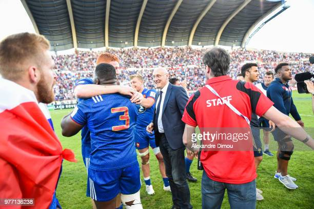 Bernard LAporte President of French Federation of Rugby and Team of France celebrates the Title of World Champion U20 during the Final World...