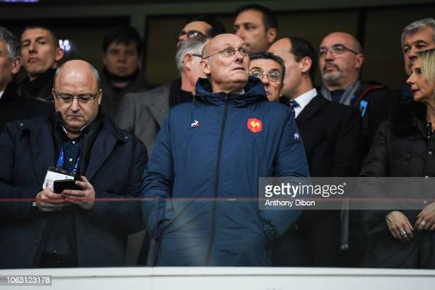 Bernard Laporte president of Rugby French Federation during the Test match between France and Argentina on November 17 2018 in Lille France