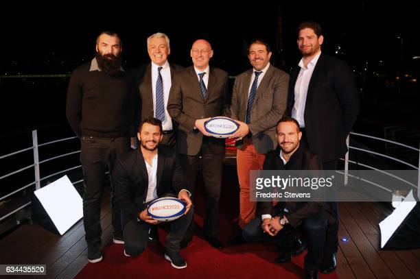 Bernard Laporte president of the French rugby federation Serge Simon vice president of France Rugby Federation and Claude Atcher supervisor of France...