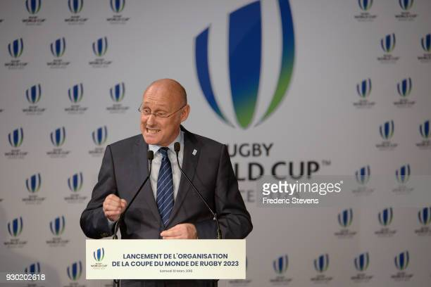 Bernard Laporte president of the french rugby union during his speech before the signing ceremony of the rugby world cup 2023 organization committee...
