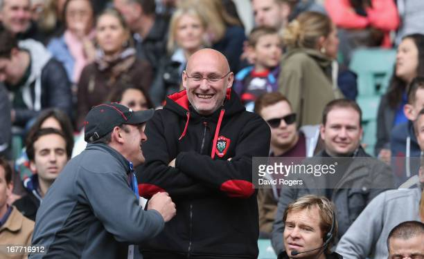 Bernard Laporte the Toulon head coach looks delighted after his team victory during the Heineken Cup semi final match between Saracens and Toulon at...