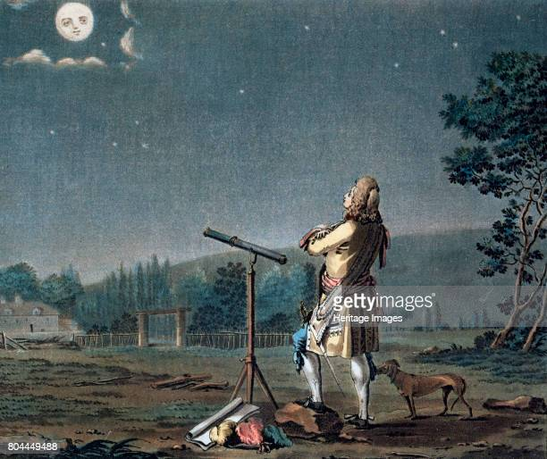 Bernard le Bovier de Fontenelle contemplating the plurality of worlds 1791 French mathematician Bernard Fontenelle stands by a telescope looking up...