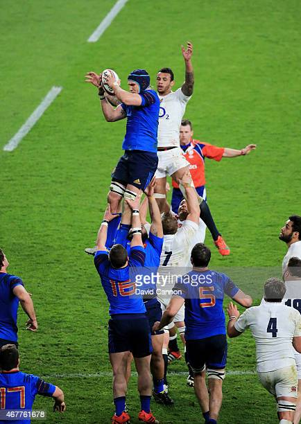 Bernard Le Roux of France wins lineout ball under pressure from Courtney Lawes of England during the RBS Six Nations match between England and France...