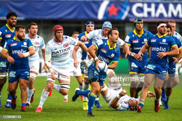 Bernard LE ROUX of Racing92 and Morgan PARRA of Clermont during the Quarter-Final Champions Cup match between Clermont and Racing92 at Stade Marcel...
