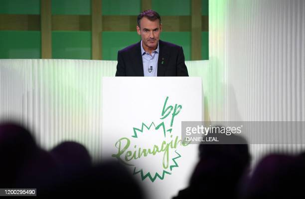 Bernard Looney speaks during an event in London on February 12 where he declared the company's intentions to achieve net zero carbon emissions by...