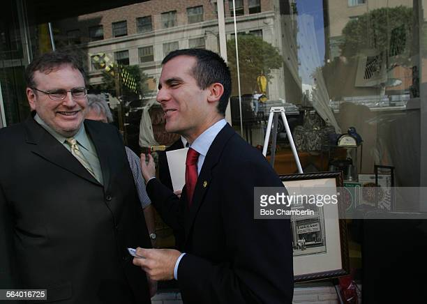 Bernard Luggage owner Bob Blue and Los Angeles City Councilman Eric Garcetti chatted outside the business on after they announced that the longtime...