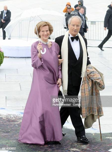 Bernard Macht and Countess Madeleine Bernadotte Kogevinas of Sweden are seen arriving at the Opera House on the occasion of the celebration of King...