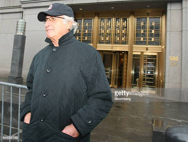 Bernard Madoff money manager and accused mastermind of a $50 billion investment fraud leaves the courthouse at 500 Pearl Street in New York US on...