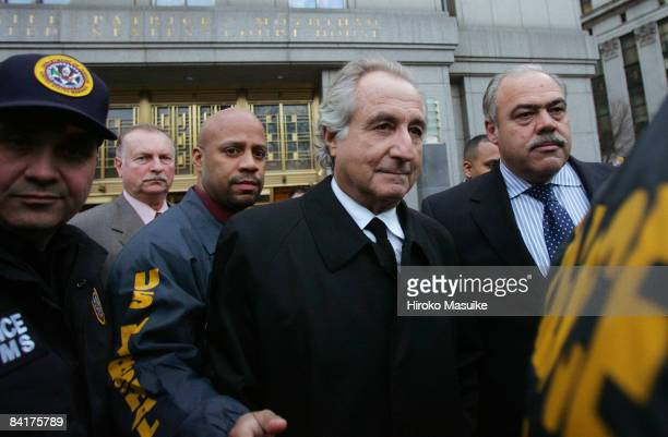 Bernard Madoff walks out from Federal Court after a bail hearing in Manhattan January 5 2009 in New York City Madoff is accused of running a $50...