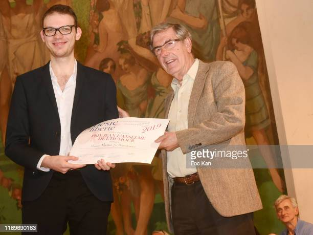 Bernard Menez awards a Poseie En Liberté competitor during Poesie En Liberté 2019 Awards Ceremony At Mairie Du 5eme on November 23 2019 in Paris...