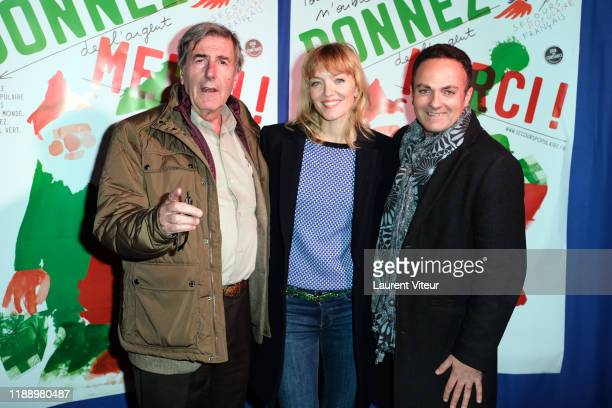 "Bernard Menez, Maya Lauqué and Laurent Amar attend the ""Peres Noel Verts"" By Le Secours Populaire Launch at Cirque du Phenix on November 20, 2019 in..."