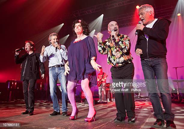 Bernard Minet, Claude Framboisier, Eric Bouad and Remy Sarrazin of Les Muscles perform live with Jacky at Palais Omnisports de Bercy on December 18,...