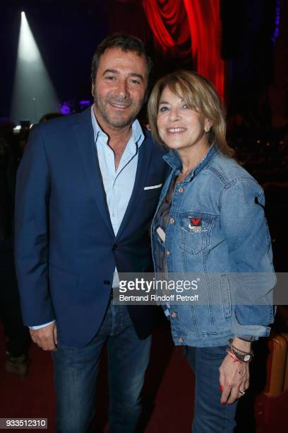 Bernard Montiel and Nicole Calfan attend Sylvie Vartan performs at Le Grand Rex on March 16 2018 in Paris France