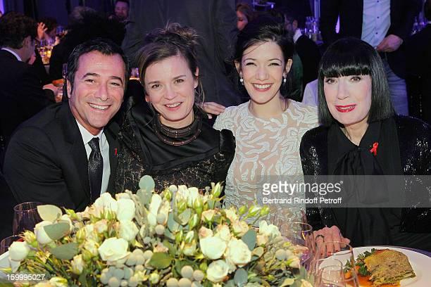 Bernard Montiel Caroline Proust Melanie Doutey and Chantal Thomass attend the Sidaction Gala Dinner 2013 at Pavillon d'Armenonville on January 24...
