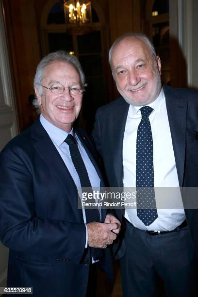 Bernard Murat and Francois Berleand attend Francois Berleand is elevated to the rank of 'Officier de la Legion d'Honneur' at Hotel de Matignon on...