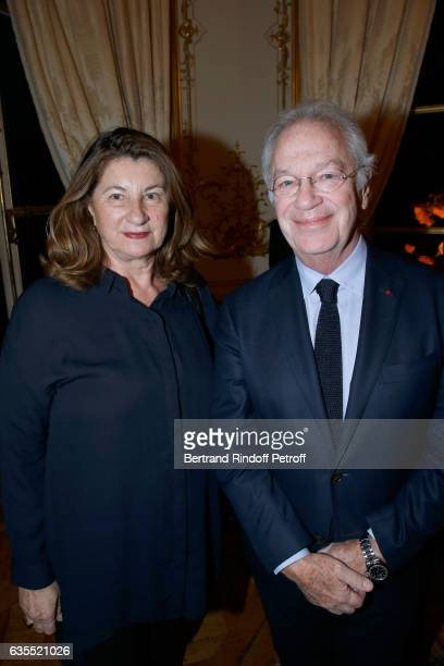 Bernard Murat and his wife Zana attend Francois Berleand is elevated to the rank of 'Officier de la Legion d'Honneur' at Hotel de Matignon on...