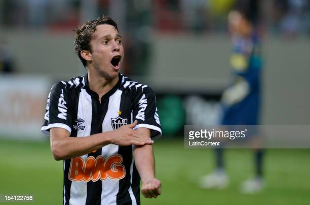 Bernard of Atletico MG celebrates a goal during a match between Atletico MG and Sport as part of the Campeonato Brasileiro 2012 at Estadio...
