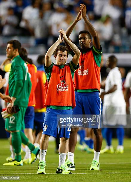 Bernard of Brazil acknowledges the fans following their 40 win against Honduras during a friendly match at Sun Life Stadium on November 16 2013 in...