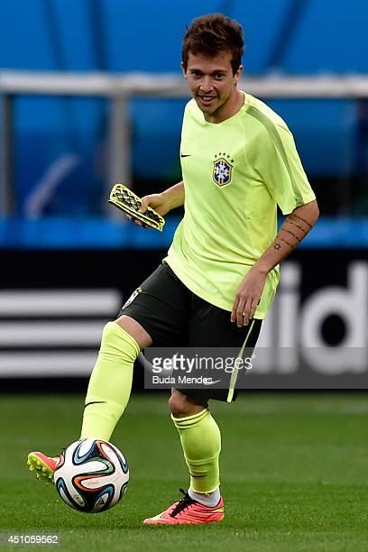 Bernard of Brazil in action during a training session at Mane Garrincha Stadium on June 22 2014 in Brasilia Brazil