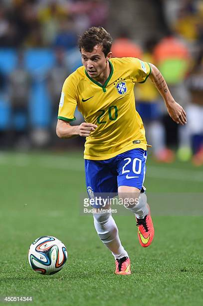 Bernard of Brazil in action during the 2014 FIFA World Cup Brazil Group A match between Brazil and Croatia at Arena de Sao Paulo on June 12 2014 in...
