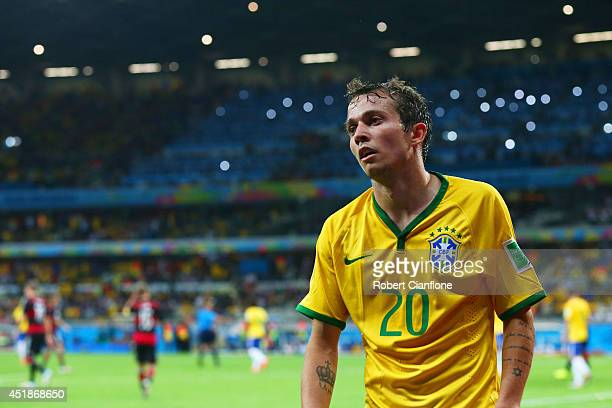Bernard of Brazil looks on during the 2014 FIFA World Cup Brazil Semi Final match between Brazil and Germany at Estadio Mineirao on July 8 2014 in...