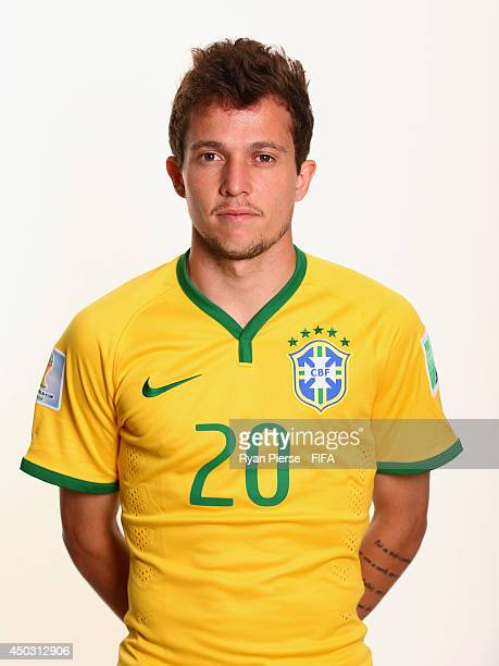 Bernard of Brazil poses during the official FIFA World Cup 2014 portrait session on June 8 2014 in Rio de Janeiro Brazil