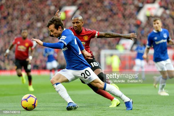 Bernard of Everton and Ashley Young during the Premier League match between Manchester United and Everton at Old Trafford on October 28 2018 in...