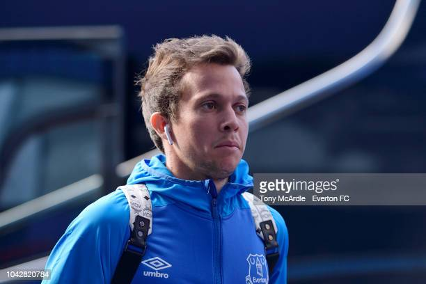 Bernard of Everton arrives for the Premier League match between Everton and Fulham at Goodison Park on September 29 2018 in Liverpool England