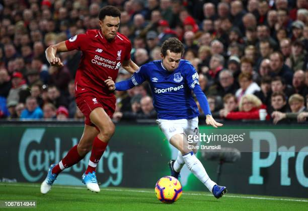 Bernard of Everton battles for possession with Trent AlexanderArnold of Liverpool during the Premier League match between Liverpool FC and Everton FC...